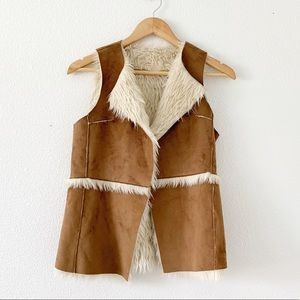 Hollister Brown Tan Shearling Suede Vest